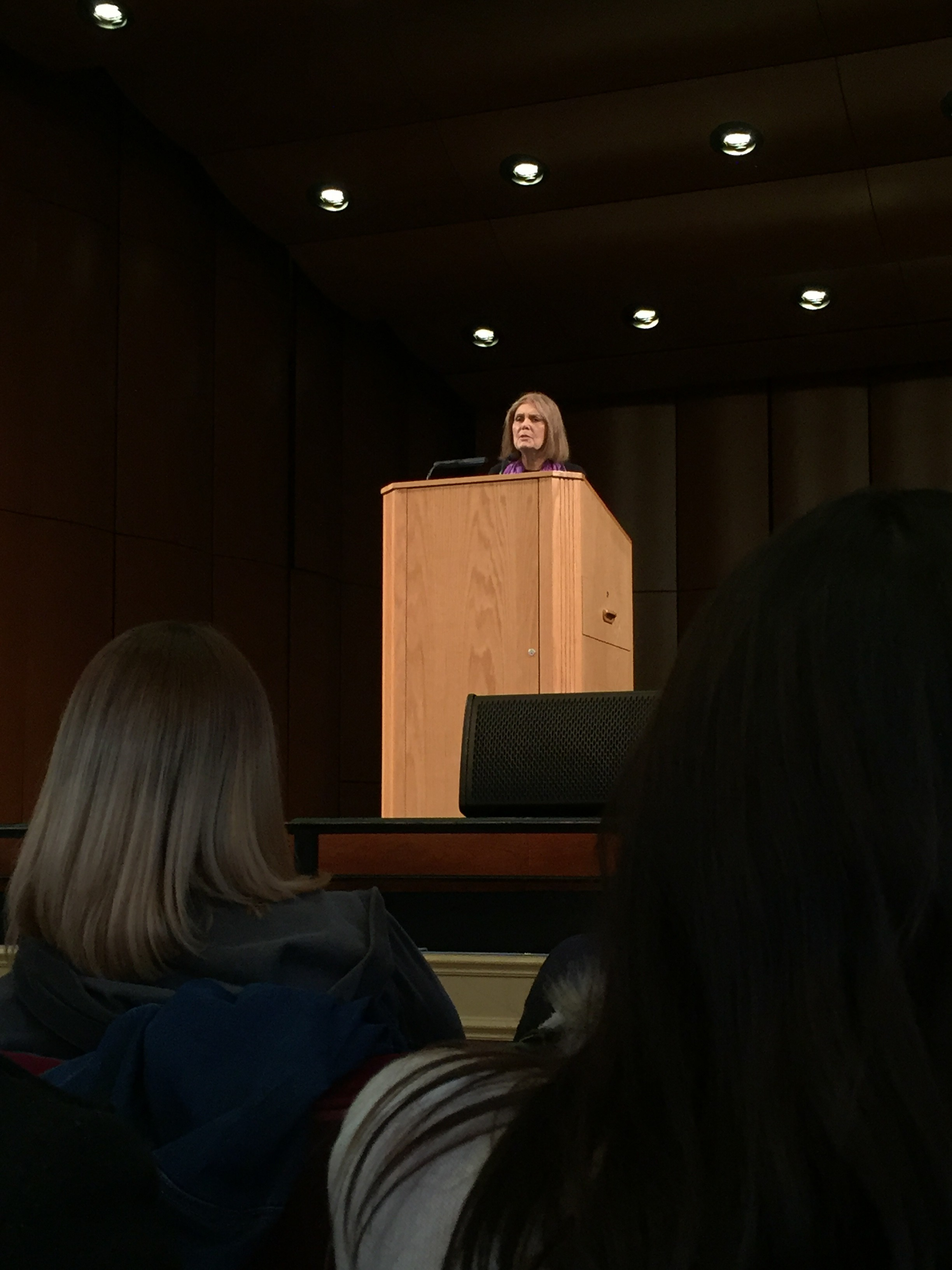 Steinem lectures in Kendall Hall.