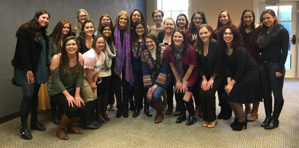 WILL students and WGS majors pose with Steinem.